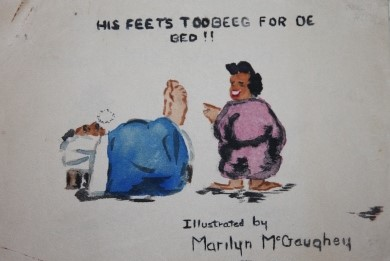 Image for His Feet's Too Beeg for de  Bed!!