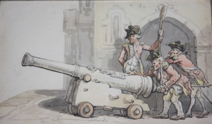 Image for Framed Original Watercolor Painting of Three Red-Coated Soldiers Loading a Cannon
