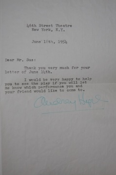 Image for Letter Signed by Audrey Hepburn, June 18th, 1954