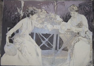 Image for Painting, over a photograph, of Nineteenth Century Actresses Ada Rehan and Edith Kingdon