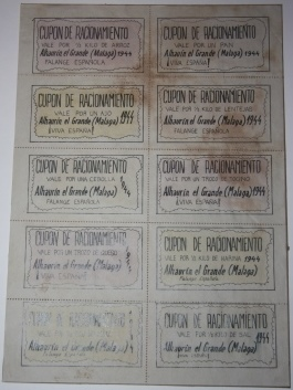 "Image for ""Painted"" Sheet of Ten Cupon de Racionamiento,  Post-Spanish Civil War Falange Ration Stamps"