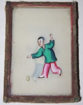 Image for Box of Seven Chinese Watercolor Cards on Pith Paper Depicting Kites and Children Playing
