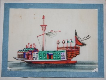 Image for Album of a Dozen Chinese Watercolors of Ships and Boats on Pith Paper