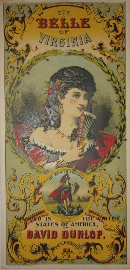 Image for The Belle of Virginia Plug Tobacco Label David Dunlop Petersburg VA