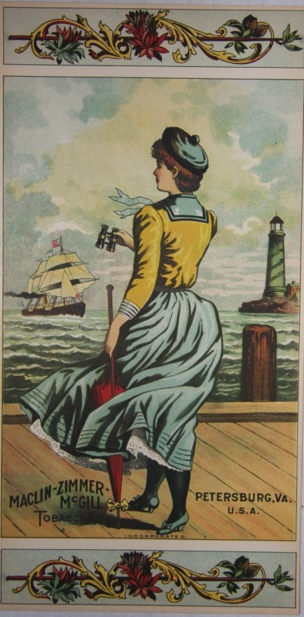 Image for Girl with Binoculars Plug Tobacco Label Maclin-Zimmer-McGill Petersburg VA